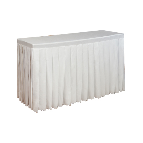 MT-023W 白色褶皱布套长条桌