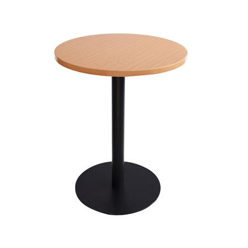 MT-04WD 黑色喷涂腿圆洽谈桌(木色面)
